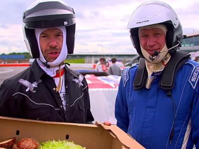 Burger in a rallycross car